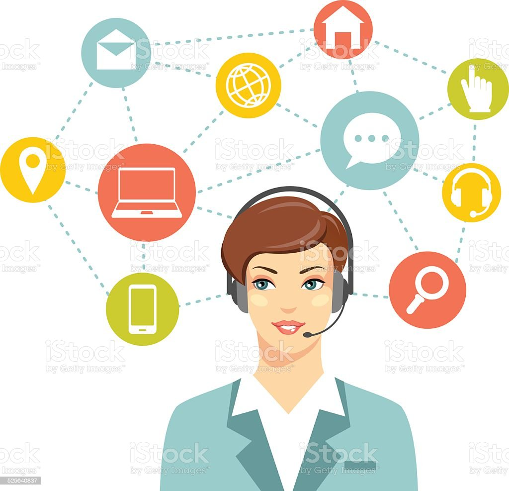Call center online customer support woman operator concept vector art illustration