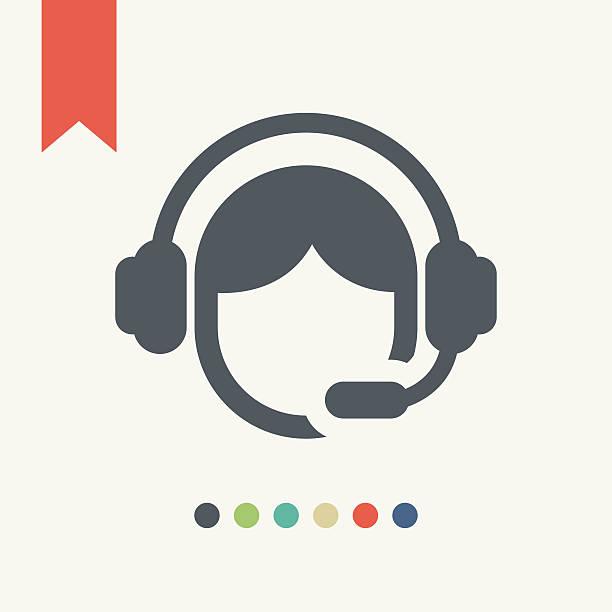 bildbanksillustrationer, clip art samt tecknat material och ikoner med call center operator icon - headset