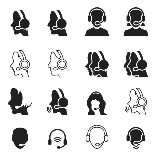 bildbanksillustrationer, clip art samt tecknat material och ikoner med call center operatör-ikonen - headset