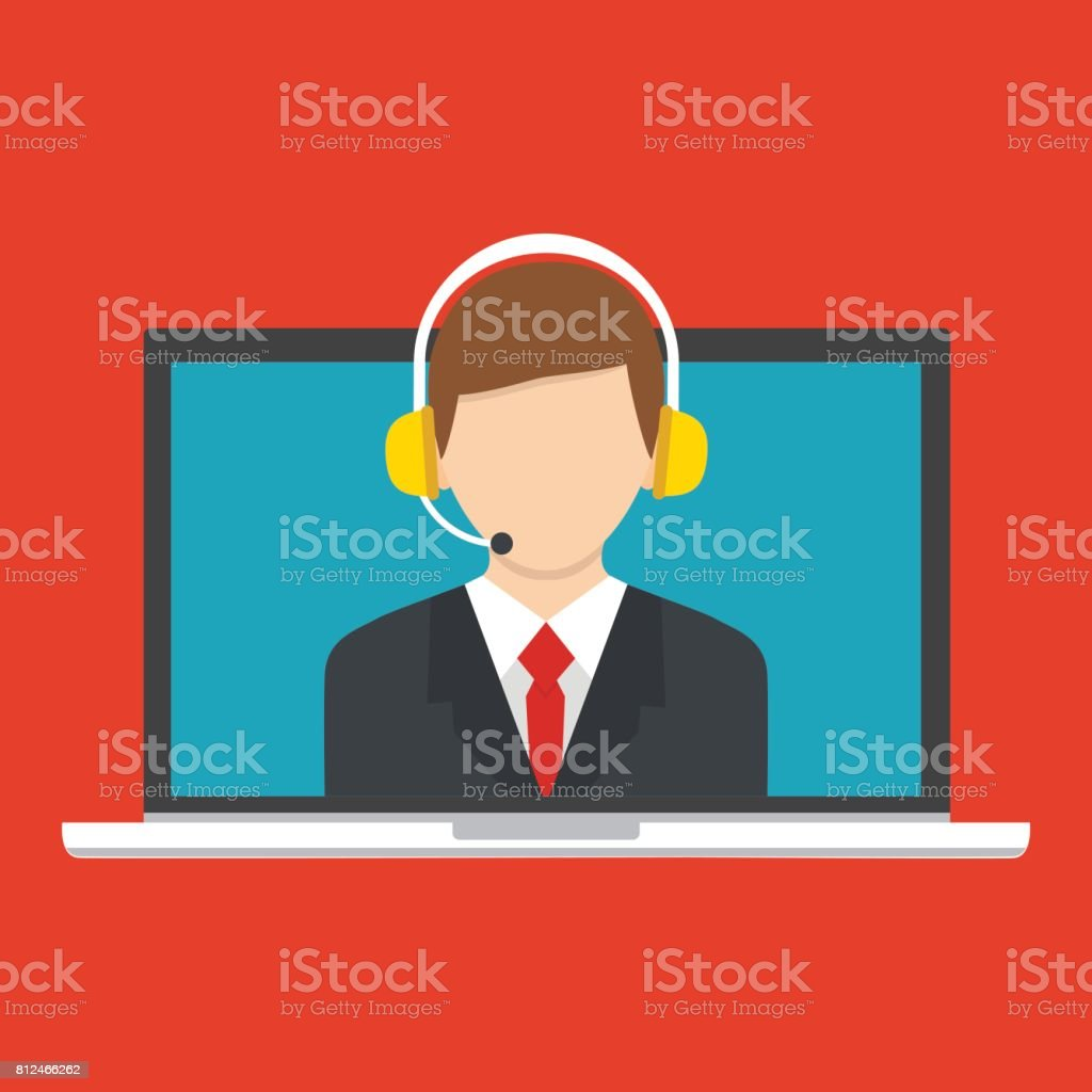 Call center operator icon with headset. Male call center avatar. Client service and communication concept. Vector vector art illustration