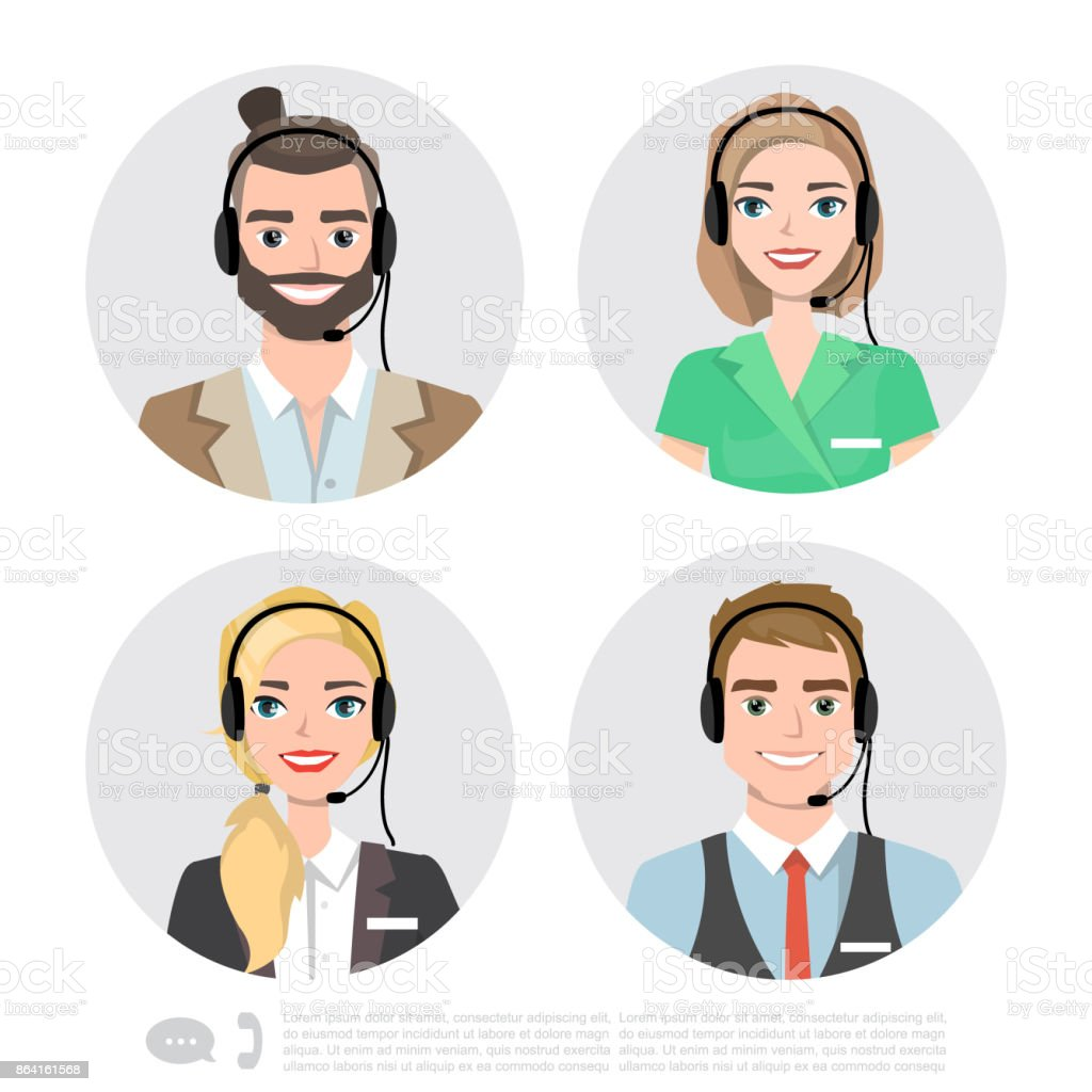 Call Center Operator Icons. Vector Cartoon Illustration royalty-free call center operator icons vector cartoon illustration stock vector art & more images of characins