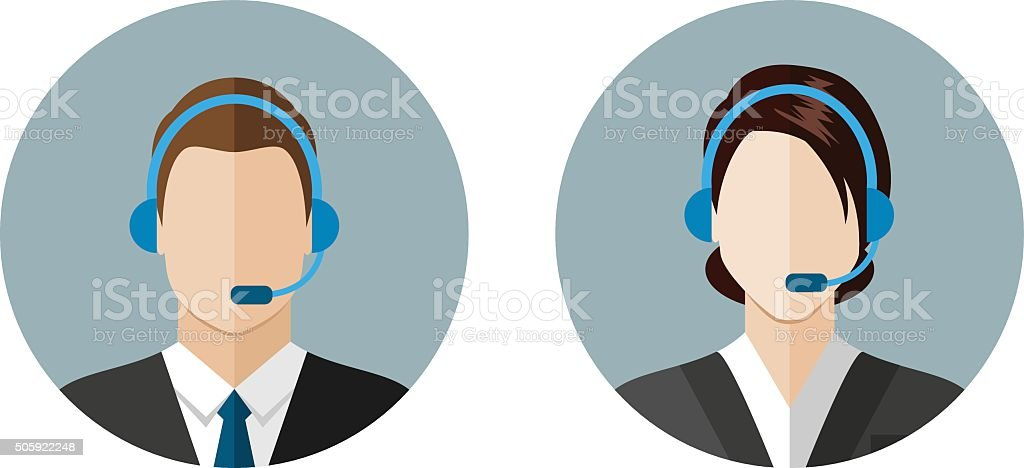 Call center operator icons vector art illustration