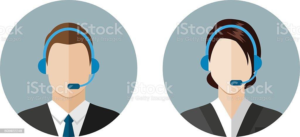 Operador de centro de llamadas iconos - ilustración de arte vectorial