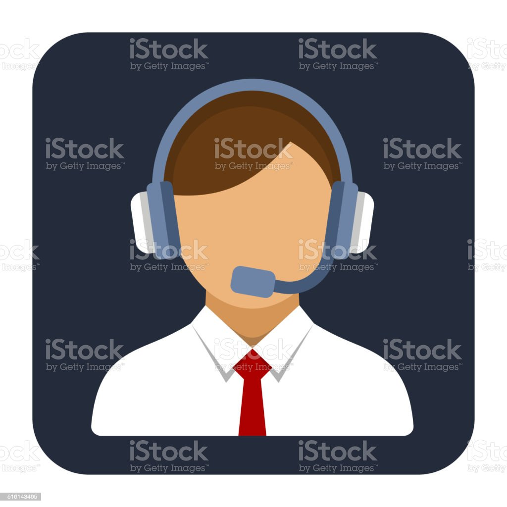 Call Center Operator or Manager with Headset Flat Style Icon. vector art illustration