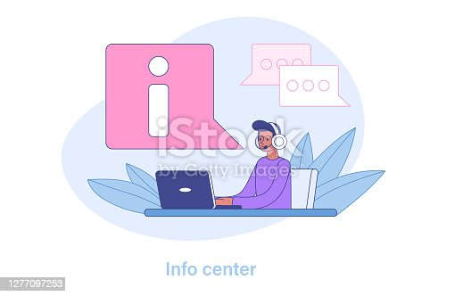 Young man Call center operator or customer service representative sitting at his workplace and communicating with customers who need support. Flat vector illustration.