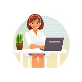 Female operator call center in headphones sitting in the office. Support. Vector illustration