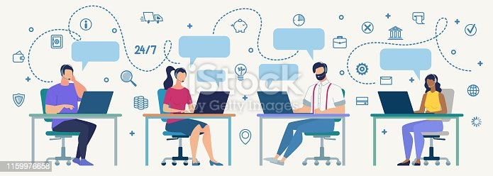 Clients Support, Helpline for Customers, Online Technical Assistance Flat Vector Concept. Call Center Operators in Headset, Sitting at Desk, Communicating, Messaging, Answering Questions Illustration
