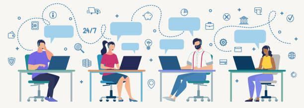 stockillustraties, clipart, cartoons en iconen met call center exploitanten op het werk platte vector concept - klantenservice