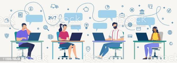 작업 플랫 벡터 개념의 콜 센터 운영자 IT 지원에 대한 스톡 벡터 아트 및 기타 이미지