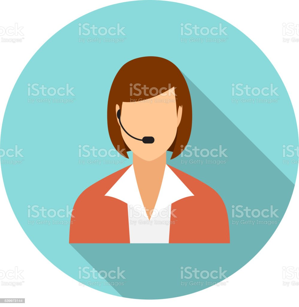 Call center operators, female avatar icons. vector art illustration