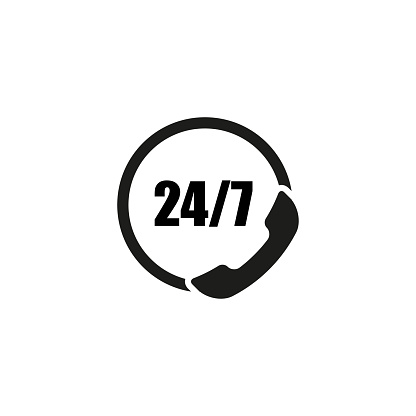 call center phone icon 24 7 on white background, vector