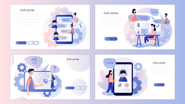 call center. screen template for mobile smart phone, landing page, template, ui, web, mobile app, poster, banner, flyer. flat style. vector illustration - call centre stock illustrations