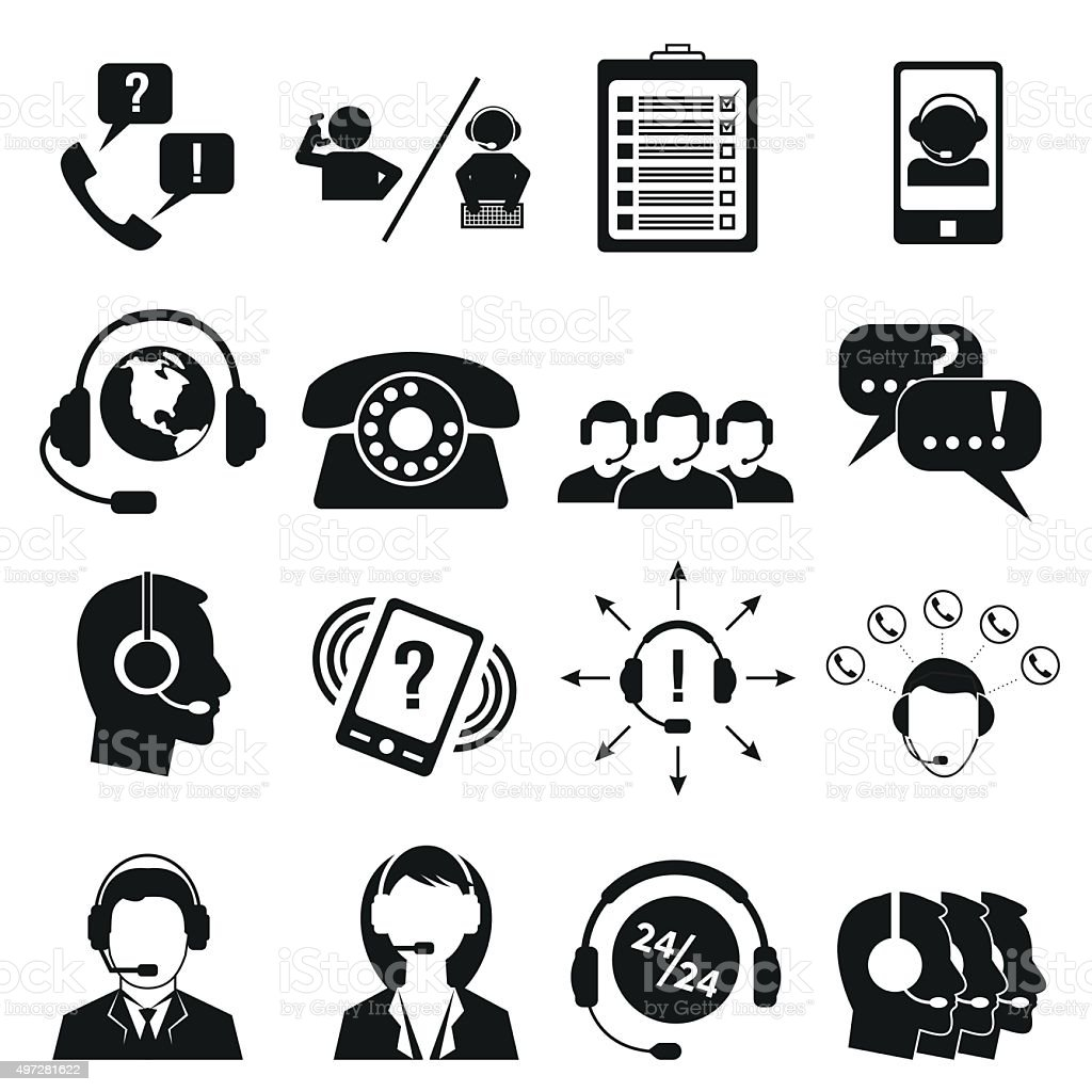 Call center service icons set vector art illustration