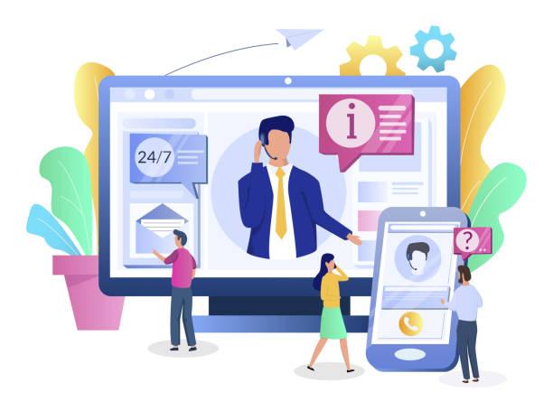 ilustrações, clipart, desenhos animados e ícones de serviços do centro de chamadas, conceito do vetor para a bandeira do web, página do web site - dia do cliente