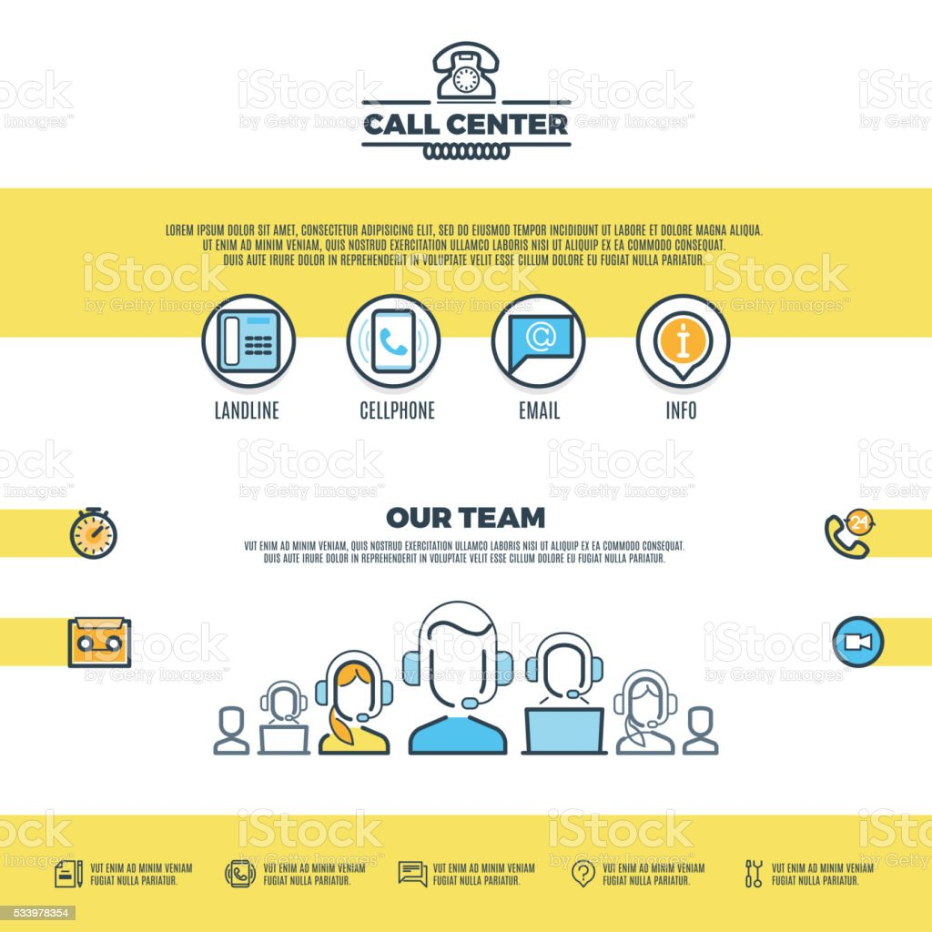 Call Center Support Customer Service Vector Web Page Design Template ...
