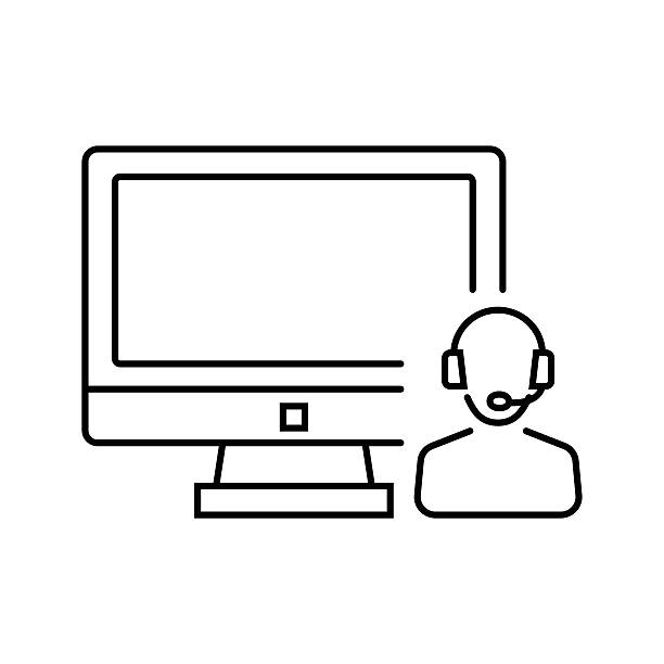 illustrations, cliparts, dessins animés et icônes de call center, system administrator icon in thin line style. - dispatcheur