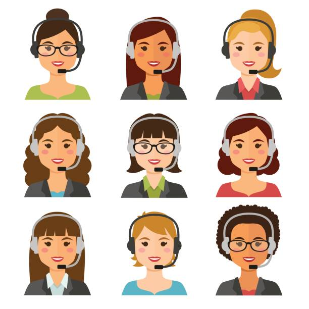 call center women agents avatars - call center stock illustrations