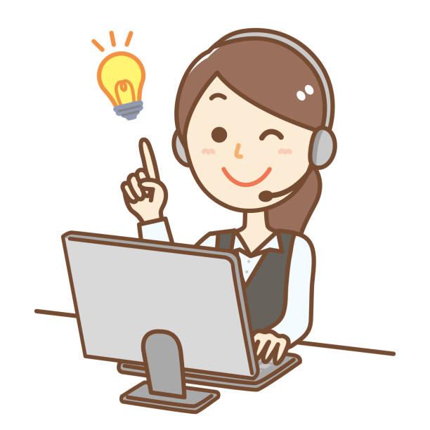 コールセンターの女性 - オペレーター 日本人点のイラスト素材/クリップアート素材/マンガ素材/アイコン素材