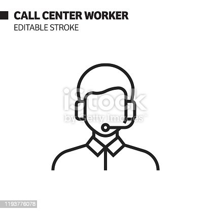 Call Center Worker Line Icon, Outline Vector Symbol Illustration. Pixel Perfect, Editable Stroke.