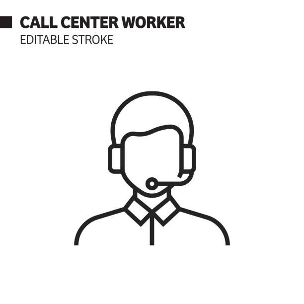 bildbanksillustrationer, clip art samt tecknat material och ikoner med callcenter worker-linjeikon, kontur vektor symbol illustration. pixel perfekt, redigerbar stroke. - headset