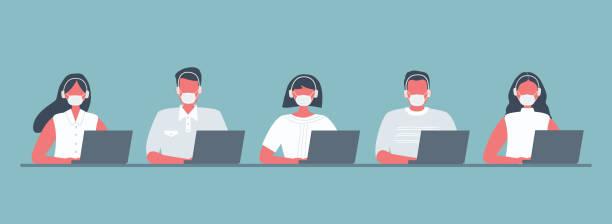 Call center workers during the coronavirus epidemic vector art illustration