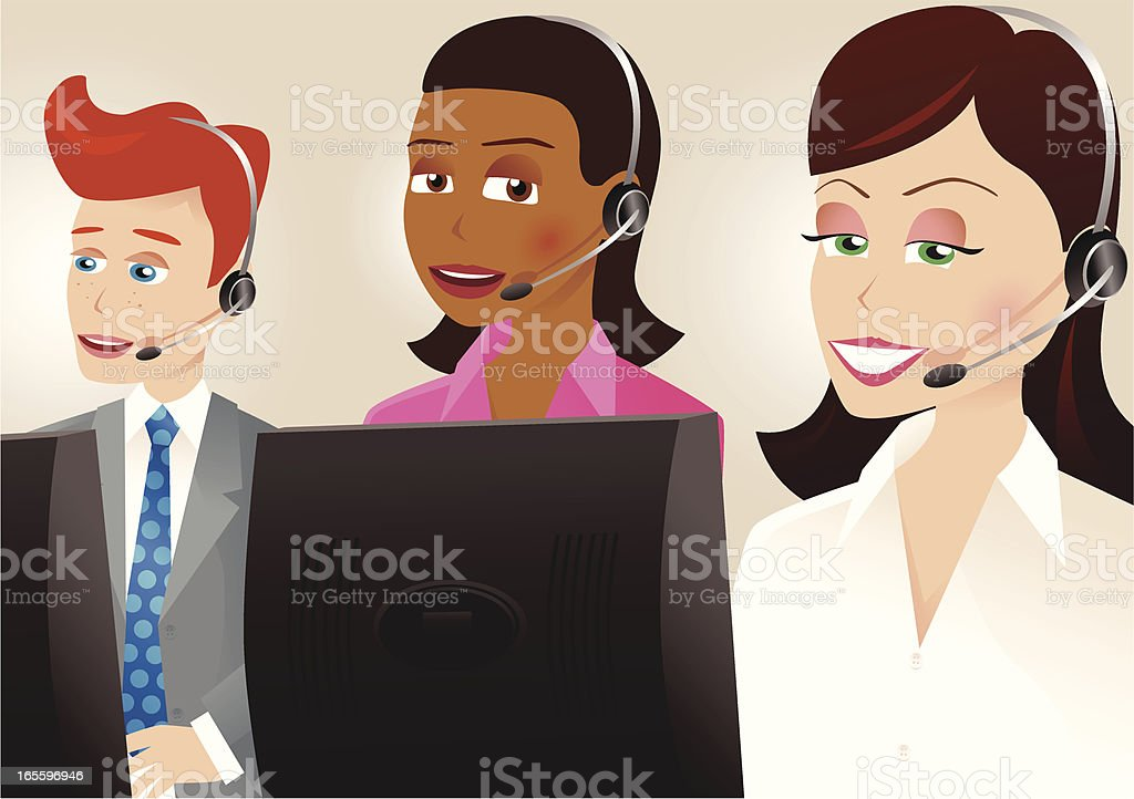 Call centre workers on the phones royalty-free call centre workers on the phones stock vector art & more images of adult