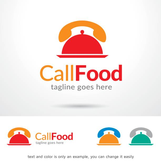 call food symbol template design vector, emblem, design concept, creative symbol, icon - call center stock illustrations