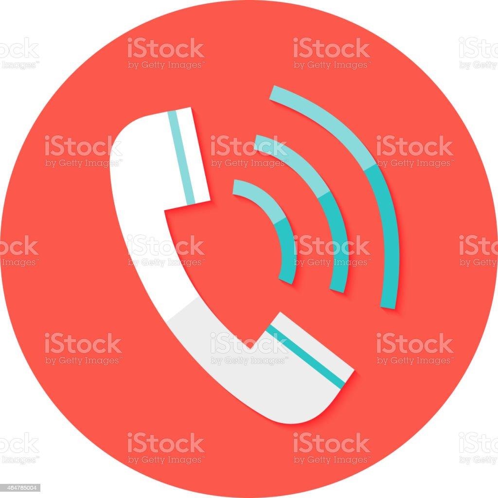 Call Headphone Circle Flat Icon vector art illustration