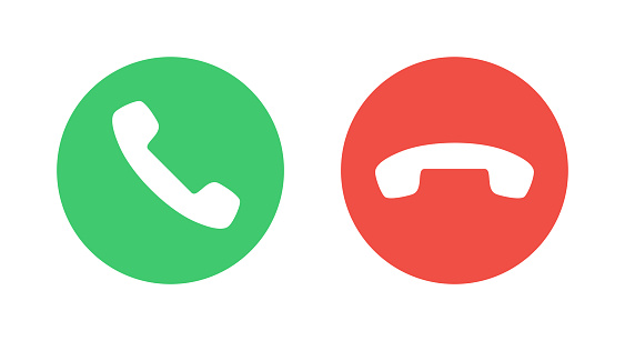 Call Icons. Phone Dial Symbols. Answer and Decline. Green and Red. Yes and No. Vector illustration