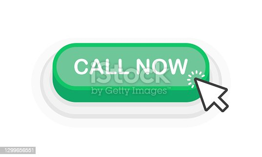 istock Call Now green 3D button in flat style isolated on white background. Vector illustration. 1299656551