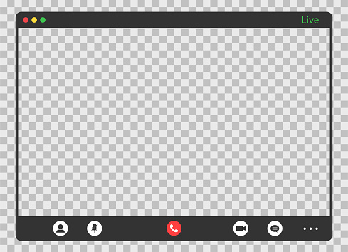 Call screen template. Video conference with transparent background. Editable online meeting. Remote video call. Remote education and lesson. Teleconference conversation. Vector EPS 10.