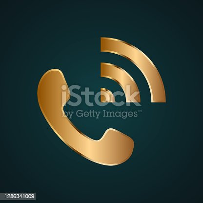 istock Call speaker icon vector logo. Gradient gold metal 1286341009