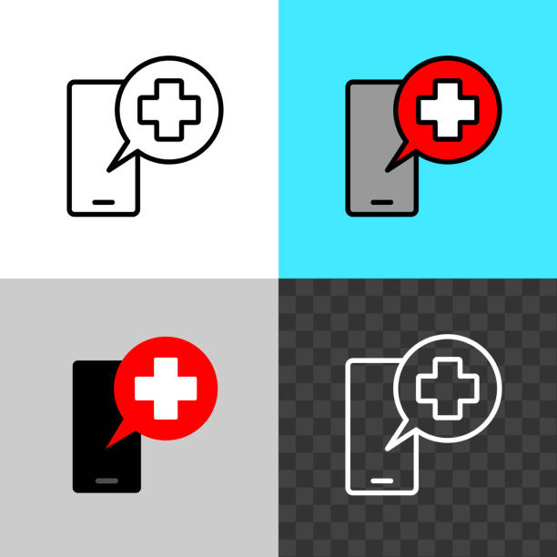 call the doctor symbol. smartphone silhouette with medical cross speaking bubble. - telemedicine stock illustrations
