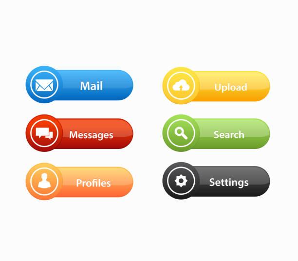 illustrazioni stock, clip art, cartoni animati e icone di tendenza di call to action buttons set design - tastierino numerico