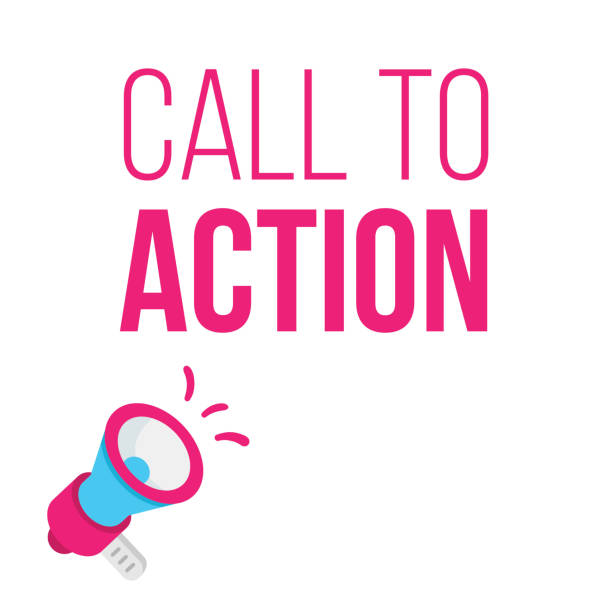 Call to Action concept with megaphone. Announcement illustration. vector art illustration