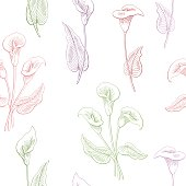 Calla flower graphic color seamless pattern sketch illustration vector