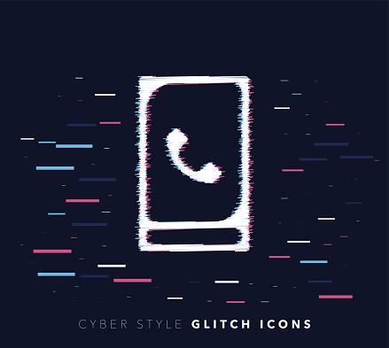 Caller Identification Glitch Effect Vector Icon Illustration
