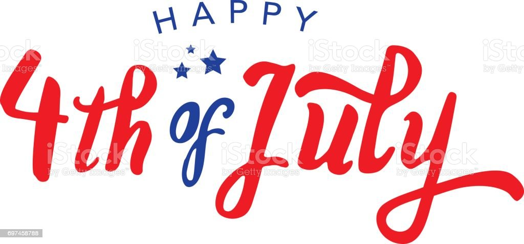 Calligraphic 4th of July Vector Typography vector art illustration