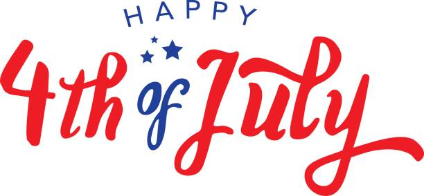 calligraphic 4th of july vector typography - happy 4th of july stock illustrations