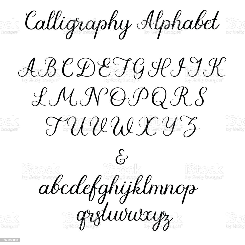 Calligraphic Alphabet Handwritten Brush Font Uppercase Lowercase Ampersand Wedding Calligraphy Royalty