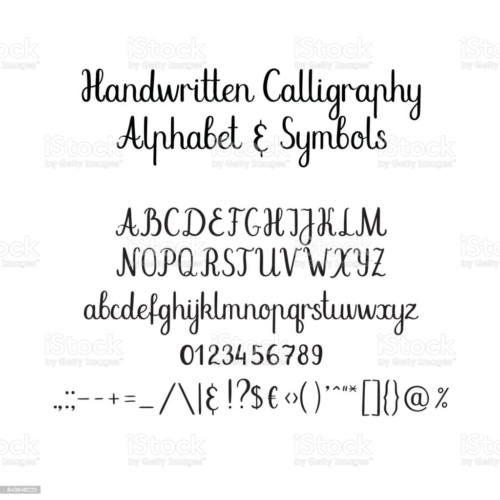 Kaligrafi Alfabe El Yazısı Fırça Yazı Tipi Büyük Harf Küçük Harf Ve