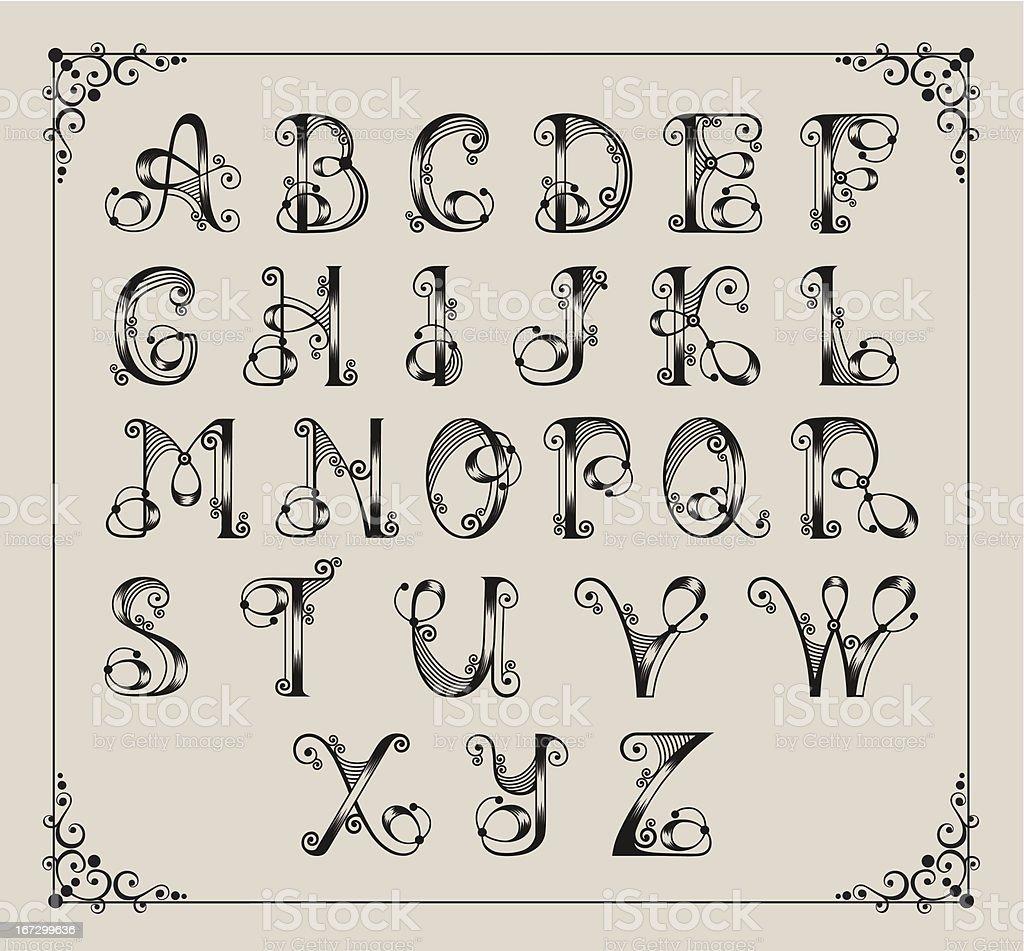 Calligraphic alphabet royalty-free calligraphic alphabet stock vector art & more images of alphabet