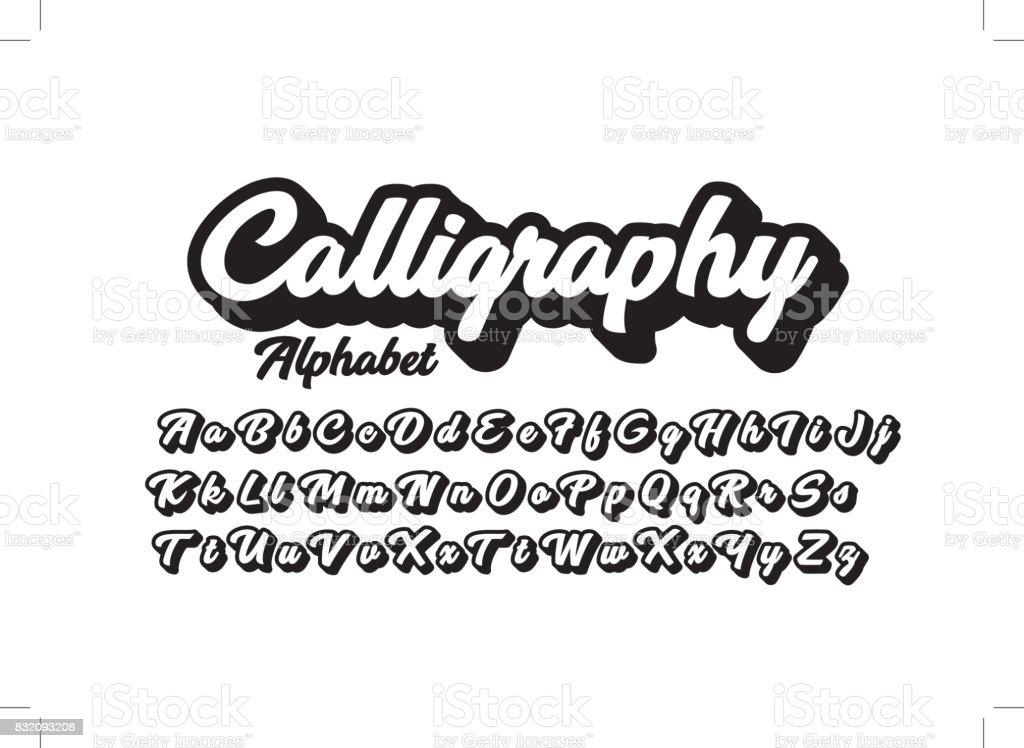 Calligraphic alphabet royalty-free calligraphic alphabet stock illustration - download image now