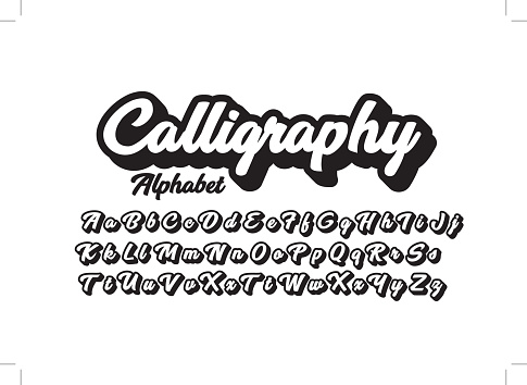 Vector of stylized calligraphic font and alphabet