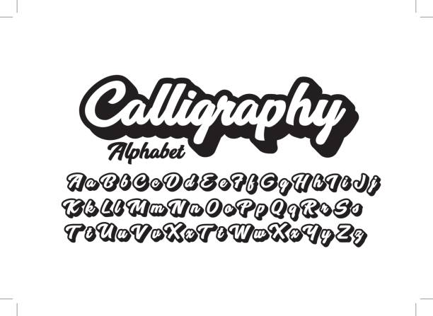Calligraphic alphabet Vector of stylized calligraphic font and alphabet handwriting stock illustrations