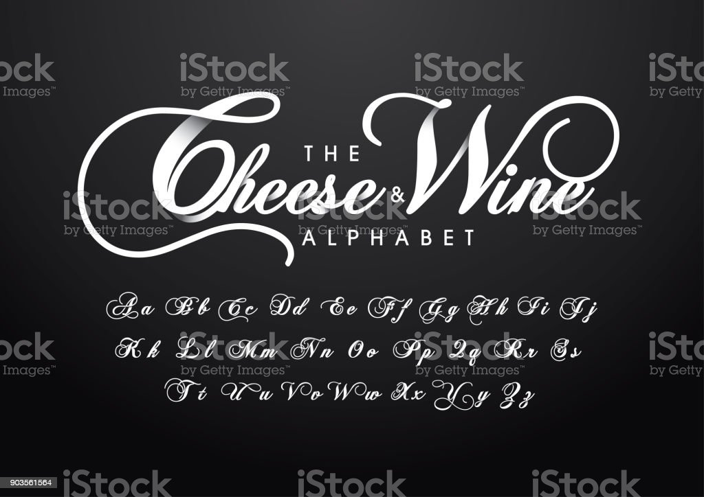 calligraphic alphabet vector art illustration