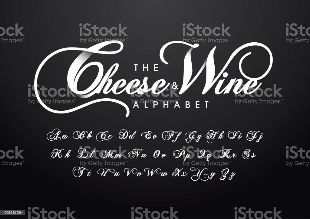 caligrafia alfabeto - ilustração de arte em vetor