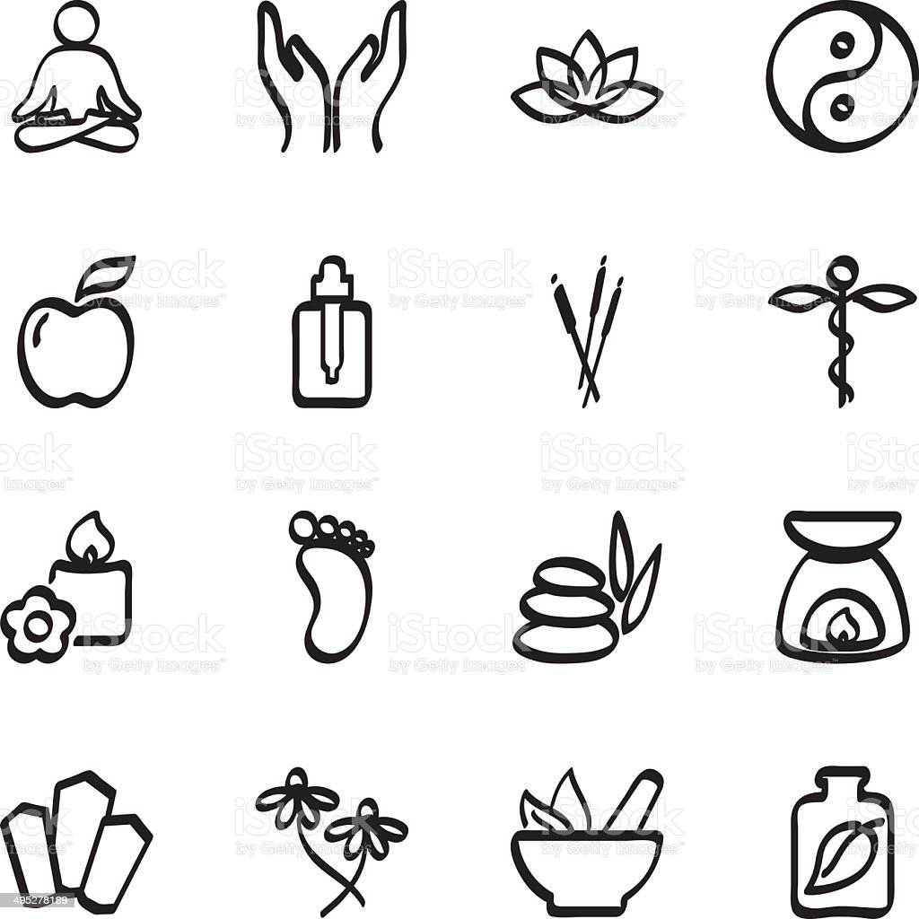 Calligraphic alternative therapy icons royalty-free calligraphic alternative therapy icons stock vector art & more images of black and white