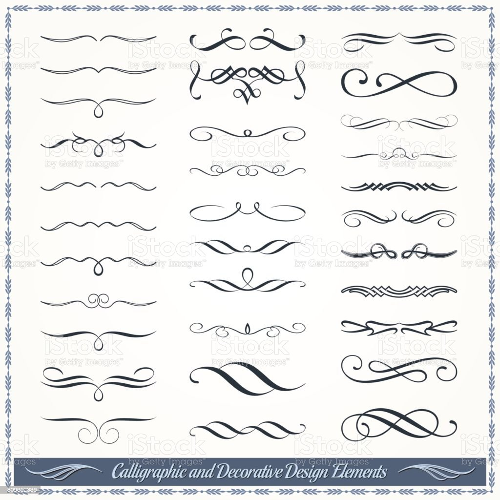 Calligraphic and Decorative Design Patterns Collection royalty-free calligraphic and decorative design patterns collection stock illustration - download image now