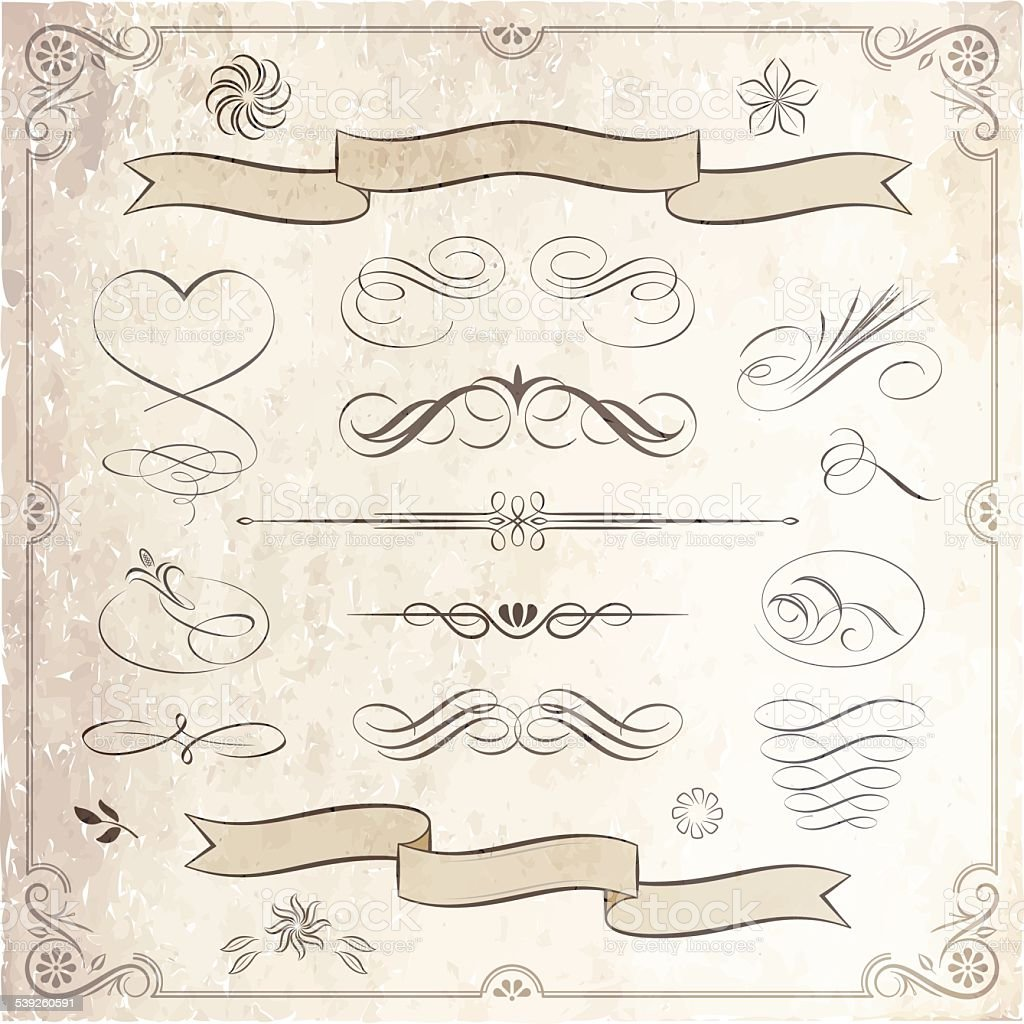 Calligraphic and Decorative Elements Collection vector art illustration
